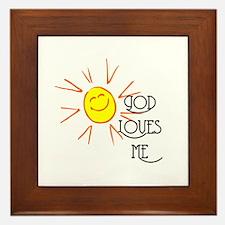 God Loves Me Framed Tile