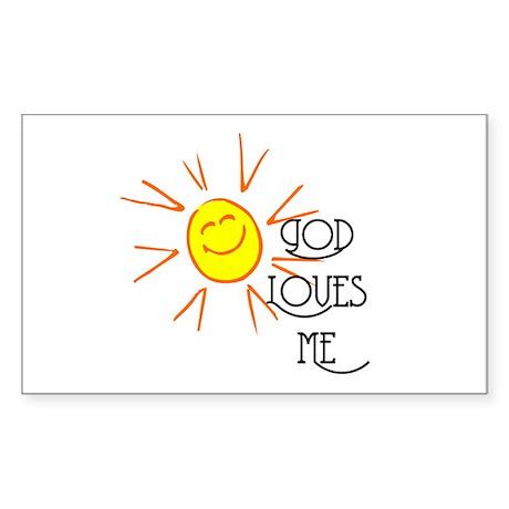 God Loves Me Rectangle Sticker 10 pk)