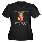 Dalai Lama Women's Plus Size V-Neck Dark T-Shirt