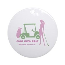 Pink Diva Golf - Ornament (Round)