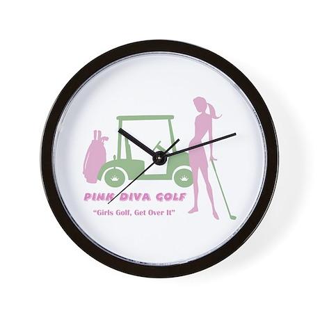 Pink Diva Golf - Wall Clock