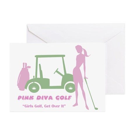 Pink Dia Golf - Greeting Cards (Pk of 10)