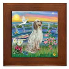 Lilies / English Setter Framed Tile