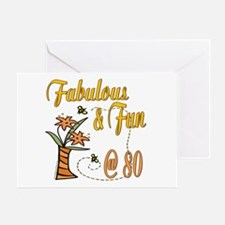 Floral 80th Greeting Card