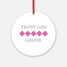 Preppy Girl Golfer - Ornament (Round)