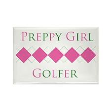 Preppy Girl Golfer. Rectangle Magnet