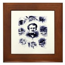Poe and His Works Framed Tile