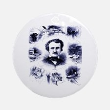 Poe and His Works Ornament (Round)