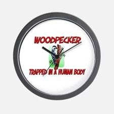 Woodpecker trapped in a human body Wall Clock