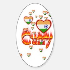 (Hearts - Indian Flag) Curry - Oval Decal