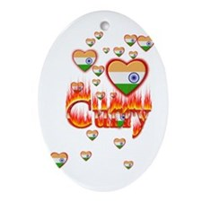 (Hearts - Indian Flag) Curry - Oval Ornament