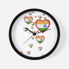 Hearts (Flag - India) - Wall Clock