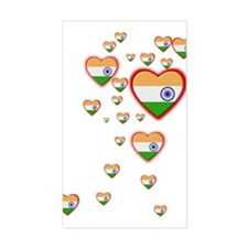 Hearts (Flag - India) - Rectangle Decal