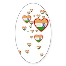 Hearts (Flag - India) - Oval Decal