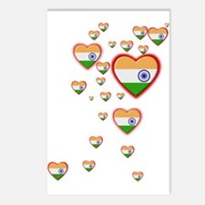 Hearts (Flag - India) - Postcards (Package of 8)