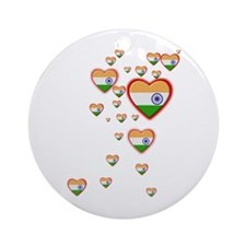Hearts (Flag - India) - Ornament (Round)