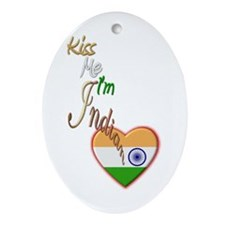 Kiss Me, I'm Indian - Oval Ornament
