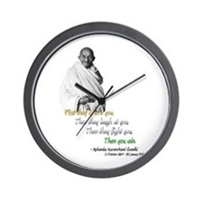 Mahatma Gandhi Picture + Text - Wall Clock