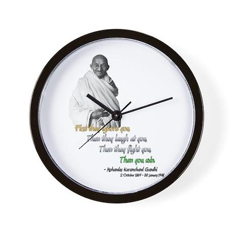 Mahatma Gandhi Picture + Text - Wall Clock
