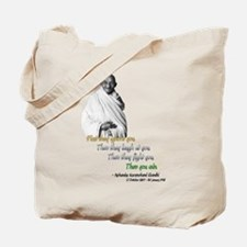 Mahatma Gandhi Picture + Text - Tote Bag