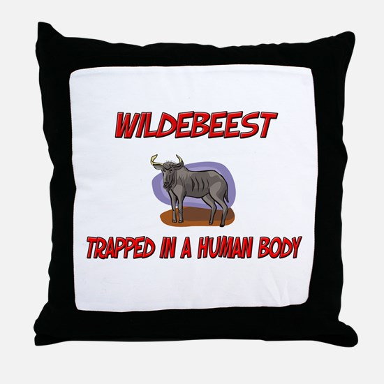 Wildebeest trapped in a human body Throw Pillow