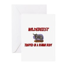 Wildebeest trapped in a human body Greeting Cards