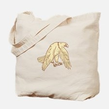 Bald Eagle Flying Wings Down Drawing Tote Bag