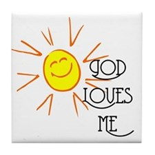 God Loves Me Tile Coaster