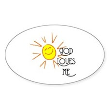 God Loves Me Oval Decal