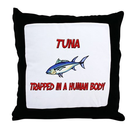 Tuna trapped in a human body Throw Pillow