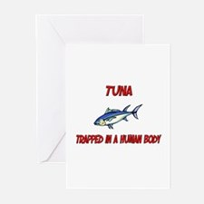 Tuna trapped in a human body Greeting Cards (Pk of