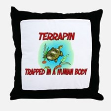 Terrapin trapped in a human body Throw Pillow