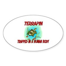 Terrapin trapped in a human body Oval Decal