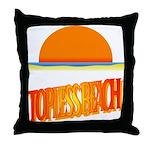 Topless Beach Throw Pillow
