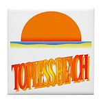 Topless Beach Tile Coaster
