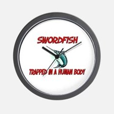 Swordfish trapped in a human body Wall Clock
