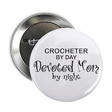 """Crochet Devoted Mom 2.25"""" Button"""