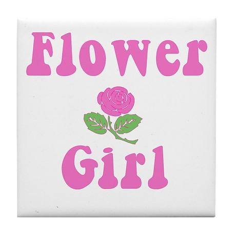 Flower Girl with Pink Rose Tile Coaster