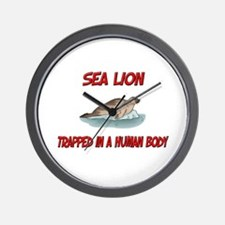 Sea Lion trapped in a human body Wall Clock