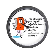 Fun library cartoon Wall Clock