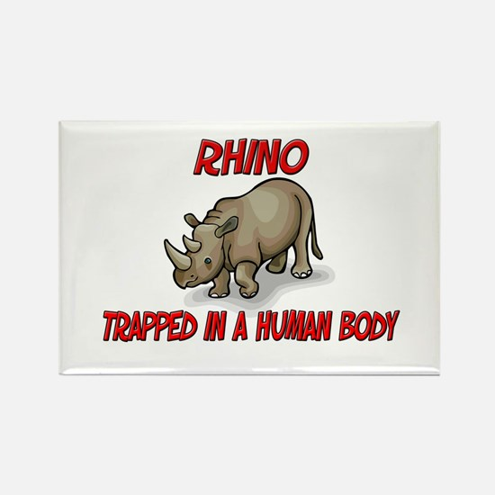 Rhino trapped in a human body Rectangle Magnet