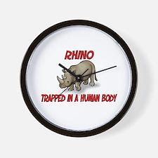 Rhino trapped in a human body Wall Clock