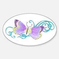 Purple Butterfly Oval Decal