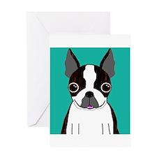 Boston Terrier (Dark Brindle) Greeting Card