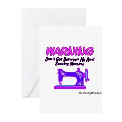 Warning Sewing Machine Greeting Cards (Package of
