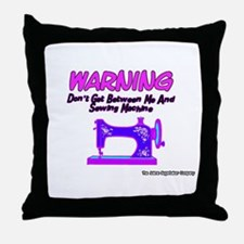 Warning Sewing Machine Throw Pillow