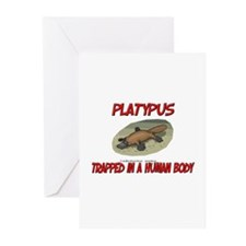 Platypus trapped in a human body Greeting Cards (P