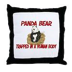 Panda Bear trapped in a human body Throw Pillow