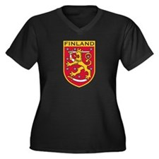 Finland Coat of Arms Women's Plus Size V-Neck Dark