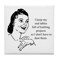 Knitting - Don't Have to Dust Tile Coaster